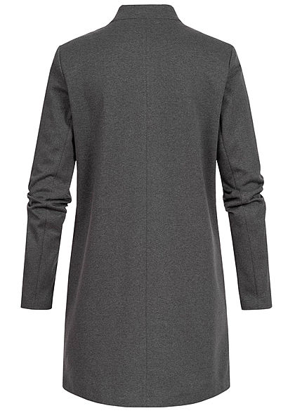 ONLY Damen Übergangs Coatigan Blazer 2-Pockets offener Schnitt dunkel grau melange