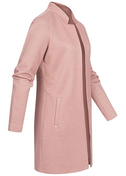 ONLY Damen Long Coatigan Blazer 2-Pockets Strukturstoff offener Schnitt burlwood rosa