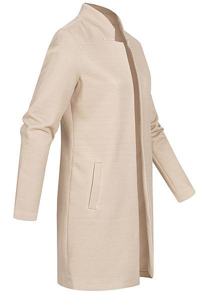 ONLY Damen Long Coatigan Blazer 2-Pockets Strukturstoff offener Schnitt pumice beige
