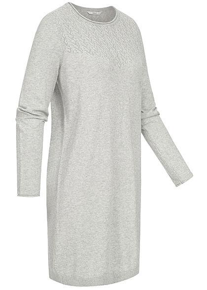 ONLY Damen Kleid Zick Zack Häkel Muster hell grau melange