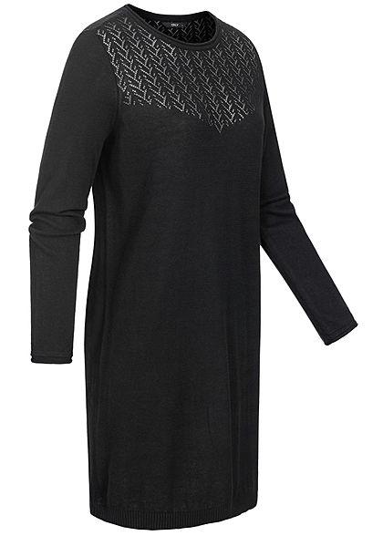 ONLY Damen Kleid Zick Zack Häkel Muster schwarz