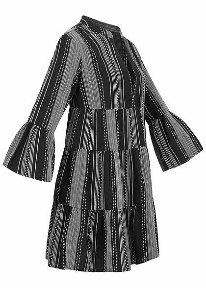ONLY Damen 3/4 Arm V-Neck Puffer Kleid Streifenstickerei schwarz weiss