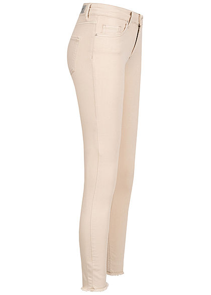ONLY Damen NOOS Skinny Ankle Jeans Hose 5-Pockets Mid-Waist ecru beige