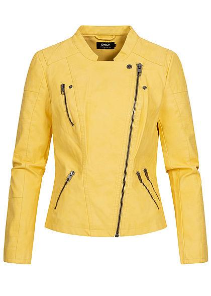 ONLY Damen NOOS Kunstleder Biker Jacke asymmetr. Zipper 2-Pockets lemon drop gelb