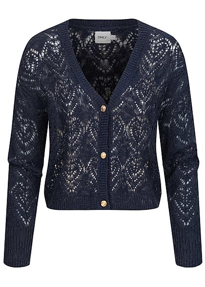 ONLY Damen Grobstrick Kurz Cardigan Knopfleiste night sky navy blau