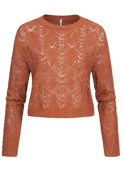 ONLY Damen Cropped Grobstrick Pullover hot sauce braun