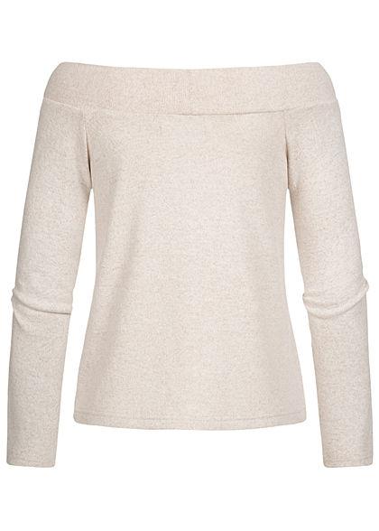 ONLY Damen Off-Shoulder Melange Pullover hazelnut beige