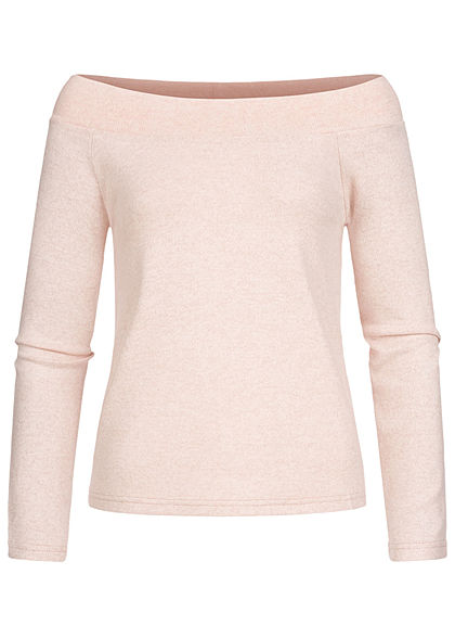 ONLY Damen Off-Shoulder Melange Pullover rose