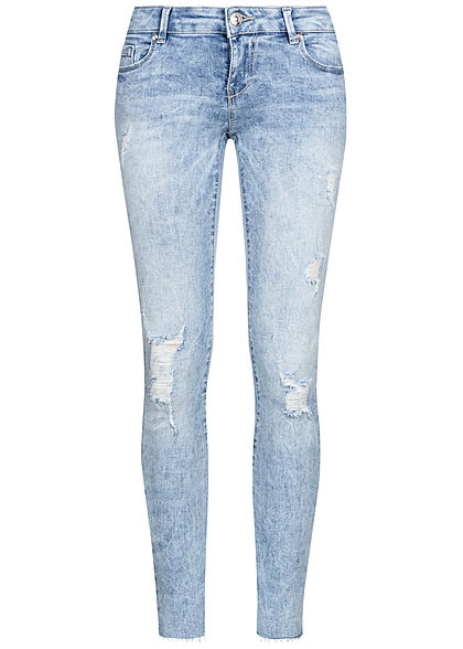 ONLY Damen Ankle Skinny Jeans Hose 5-Pockets Destroyed Look hell blau denim