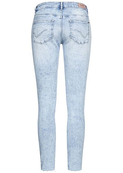 ONLY Damen Carmen Ankle Skinny Jeans Hose 5-Pockets Destroy Look hell blau denim