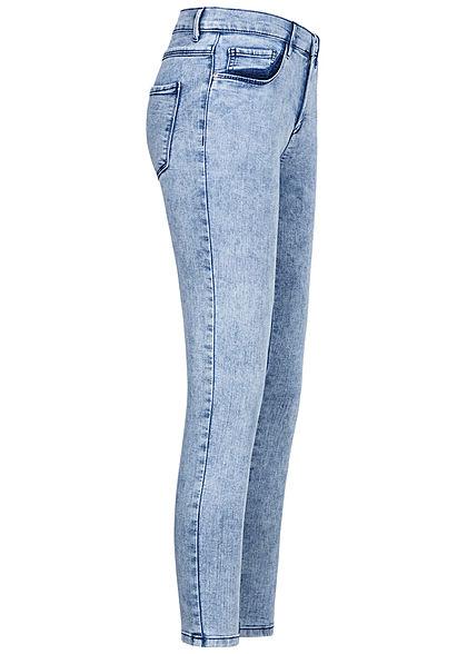 ONLY Damen Ankle Jeans Hose 5-Pockets Acid Wash hell blau denim