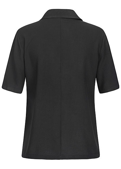 ONLY Damen Kurzarm Bluse V-Neck solid schwarz