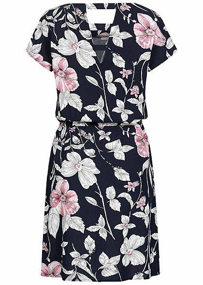 ONLY Damen Kleid Blumen Print 2-Pockets Taillenzug night sky navy blau rosa