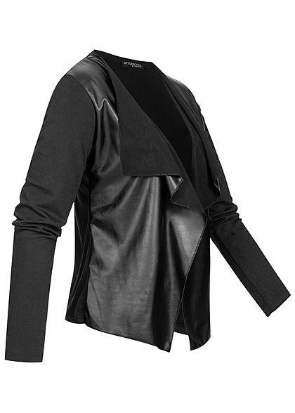 Styleboom Fashion Damen Drapped Blazer Kunstleder Optik schwarz
