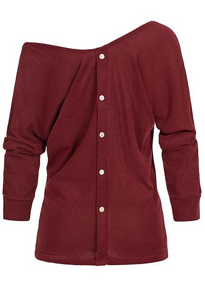 Styleboom Fashion Damen V-Neck Carmen Longleeve Knopfleiste hinten bordeaux