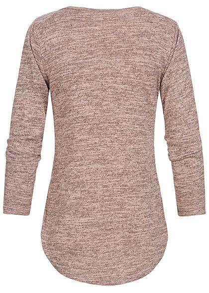 Styleboom Fashion Damen V-Neck Melange Pullover Schnürausschnitt rosa