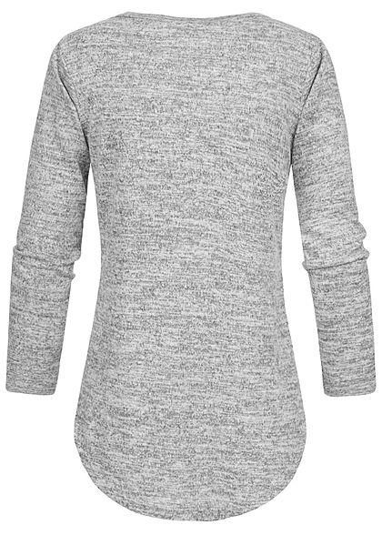 Styleboom Fashion Damen V-Neck Melange Pullover Schnürausschnitt hell grau