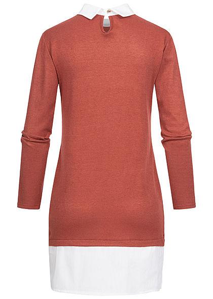 Styleboom Fashion Damen Blusen Kleid 2in1 Optik copper braun weiss