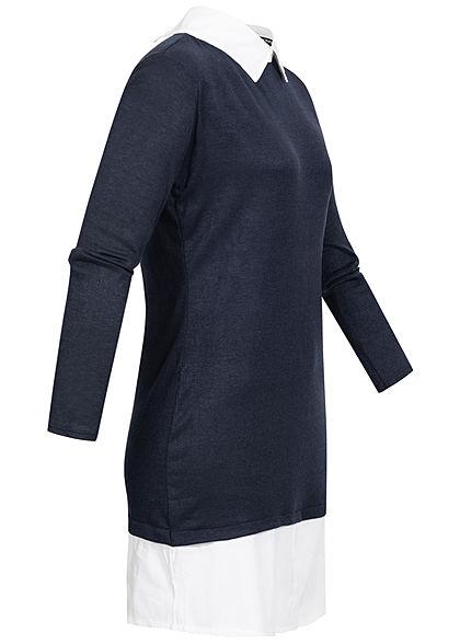 Styleboom Fashion Damen Blusen Kleid 2in1 Optik navy blau weiss
