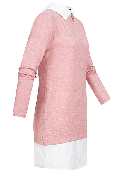 Styleboom Fashion Damen Blusen Kleid 2in1 Optik old rosa weiss