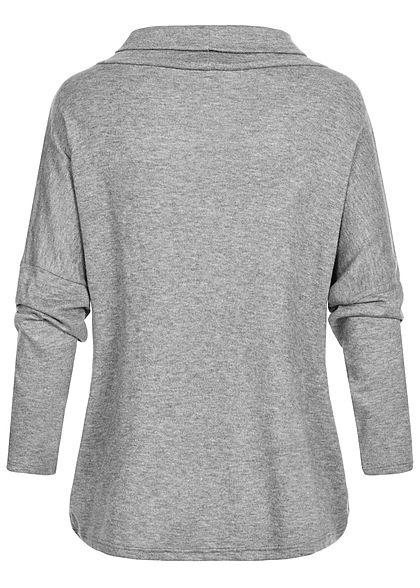 Styleboom Fashion Damen Turtle-Neck Colorblock Pullover grau weiss caramel