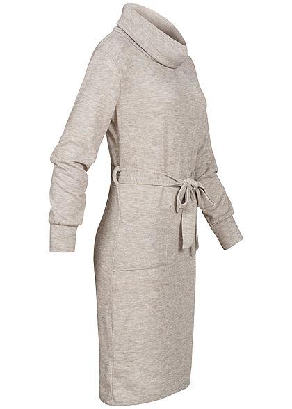 Styleboom Fashion Damen Rollkragen Kleid inkl. Gürtel 2-Pockets beige melange