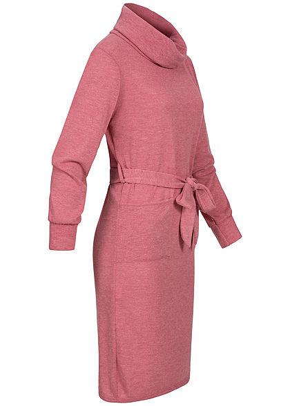 Styleboom Fashion Damen Rollkragen Kleid inkl. Gürtel 2-Pockets rosa pink melange