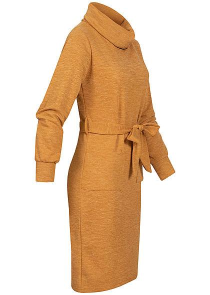Styleboom Fashion Damen Rollkragen Kleid inkl. Gürtel 2-Pockets senf gelb melange