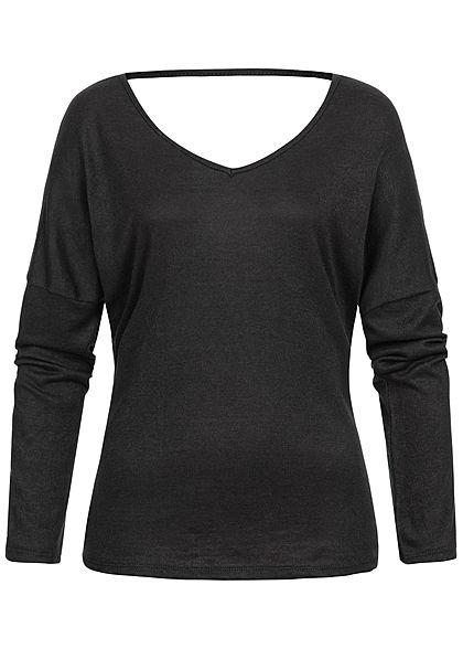 Styleboom Fashion Damen V-Neck Spitzen Longsleeve schwarz
