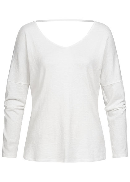 Styleboom Fashion Damen V-Neck Spitzen Longsleeve weiss
