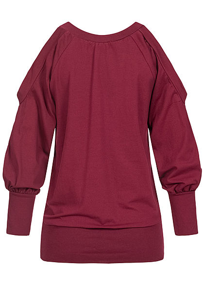 Styleboom Fashion Damen Cold-Shoulder V-Neck Pullover Wickel-Optik bordeaux rot