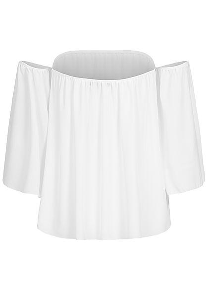 Styleboom Fashion Damen Off-Shoulder Chiffon Bluse weiss