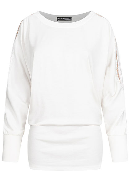 Styleboom Fashion Damen Oversized Longform Shirt mit Spitze an den Ärmeln weiss