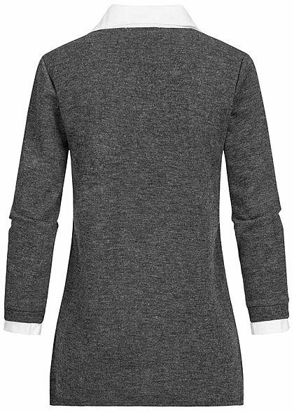 Styleboom Fashion Damen V-Neck Blusen Pullover 2in1 Optik dunkel grau melange