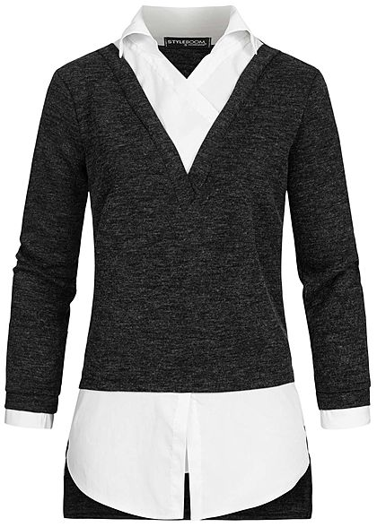 Styleboom Fashion Damen V-Neck Blusen Pullover 2in1 Optik schwarz weiss melange