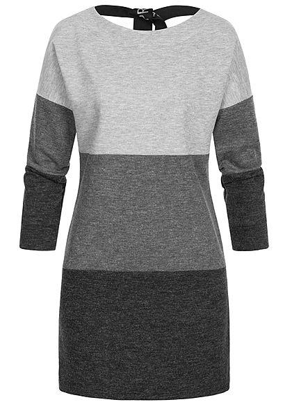 Styleboom Fashion Damen Colorblock Melange Kleid Schleife hinten grau