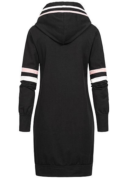 Styleboom Fashion Damen Hoodie Kleid Kapuze Streifen Kängurutasche schwarz