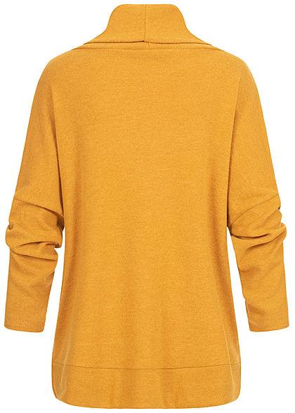 Styleboom Fashion Damen Oversized Rollkragen Pullover Rauten Muster senf gelb