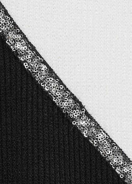 Styleboom Fashion Damen Ribbed 2-Tone Pullover Pailletten weiss schwarz
