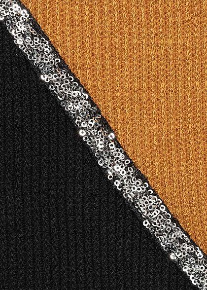 Styleboom Fashion Damen Ribbed 2-Tone Pullover Pailletten senf gelb schwarz