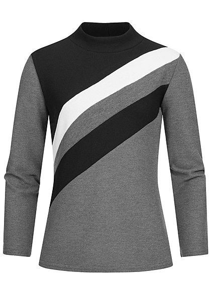 Styleboom Fashion Damen High-Neck Colorblock Pullover Diagonal Muster schwarz grau