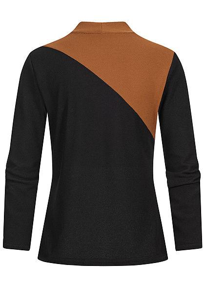 Styleboom Fashion Damen High-Neck Colorblock Pullover Diagonal Muster camel schwarz