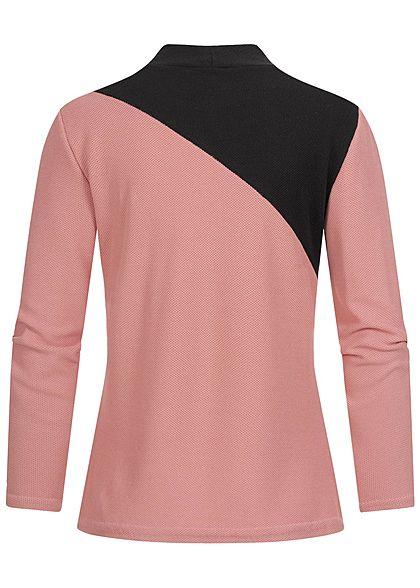 Styleboom Fashion Damen High-Neck Colorblock Pullover Diagonal Muster rosa schwarz