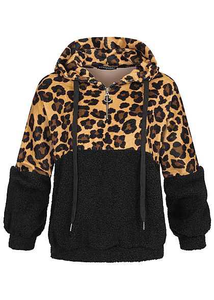 Styleboom Fashion Damen 2 Tone Half Zip Hoodie Kapuze Leo Print 2 Pockets schwarz
