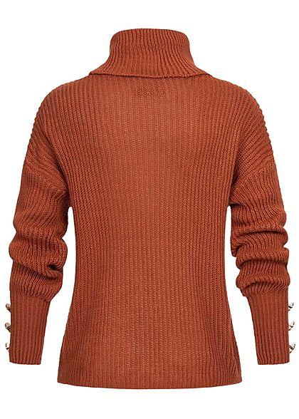 Styleboom Fashion Damen Rollkragen Strickpullover Deko Knöpfe copper rost braun