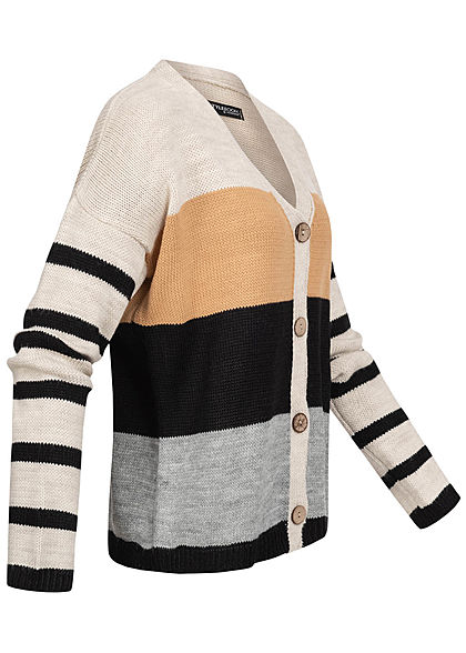 Styleboom Fashion Damen Colorblock Strickjacke Streifen Muster multicolor
