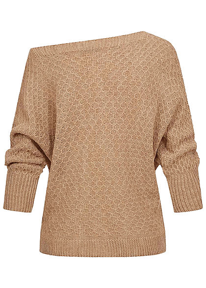 Styleboom Fashion Damen One-Shoulder Strickpullover Raute Muster beige braun