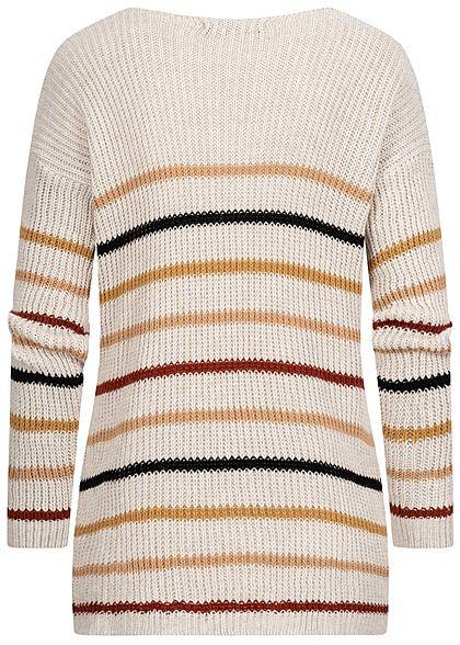 Styleboom Fashion Damen V-Neck Strickpullover Streifen Print weiss beige multicolor