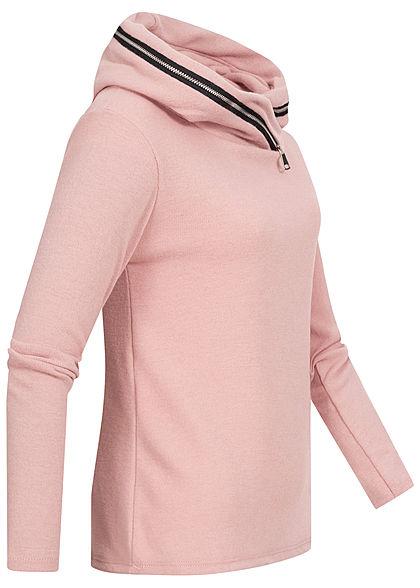 Styleboom Fashion Damen leichter Hoodie mit Zipper Kapuze rosa