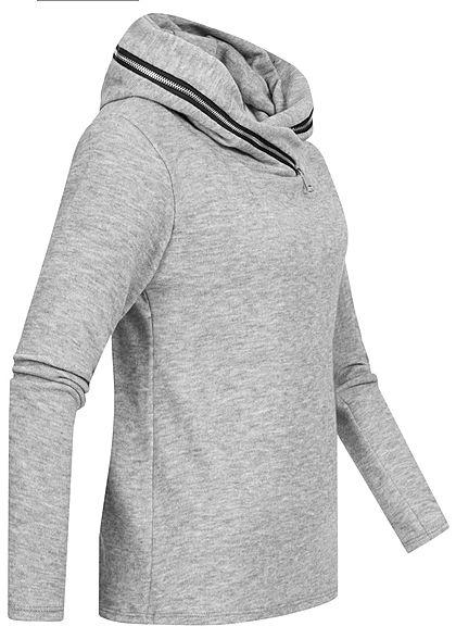 Styleboom Fashion Damen leichter Hoodie mit Zipper Kapuze grau